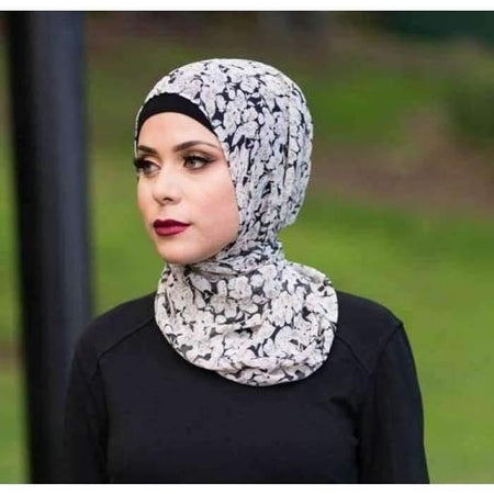 Black Pink And White Floral Hijab - Divinity Collection