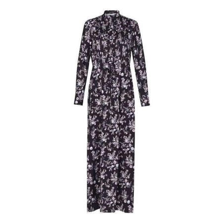 Black Pleated Floral Drawstring Shirt Maxi Dress - Divinity Collection