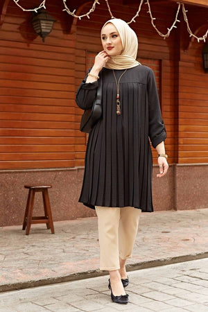 Black Pleated Long Sleeve Tunic - Divinity Collection