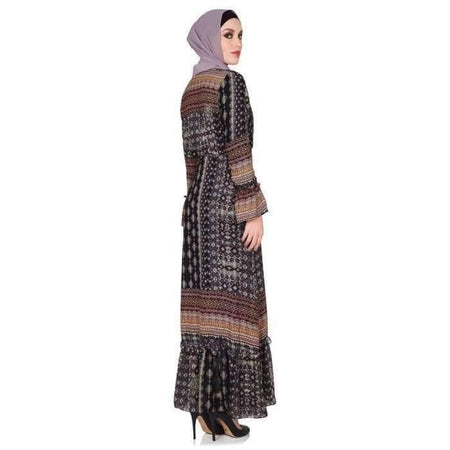 Black Printed Bohemian Vintage Dress - Divinity Collection