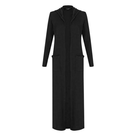 Black Ribbed Hoody Maxi Cardigan - Divinity Collection