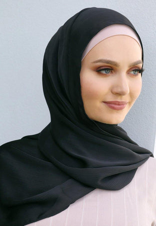Black Satin Hijab - Divinity Collection