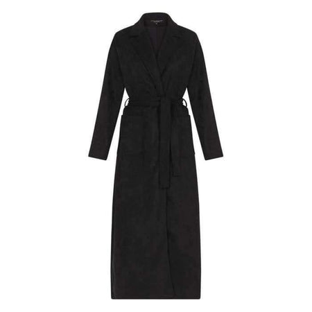Black Suede Maxi Coat - Divinity Collection