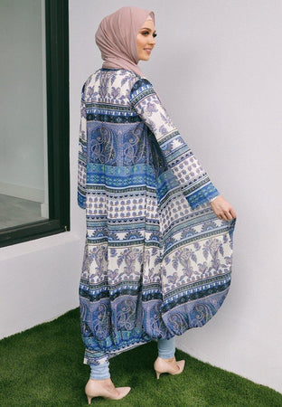 Blue and White Boho Long Cape - Divinity Collection