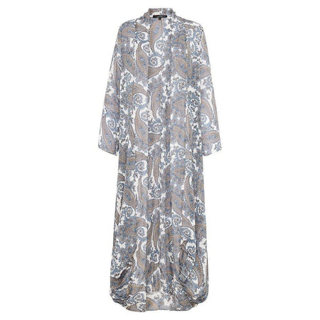 Blue and White Paisley Long Cape - Divinity Collection