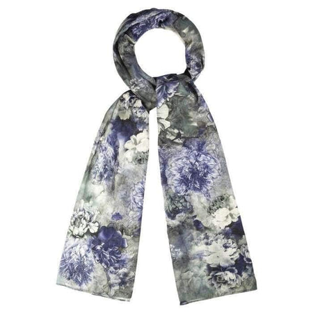 Blue Grey and White Floral Hijab - Divinity Collection