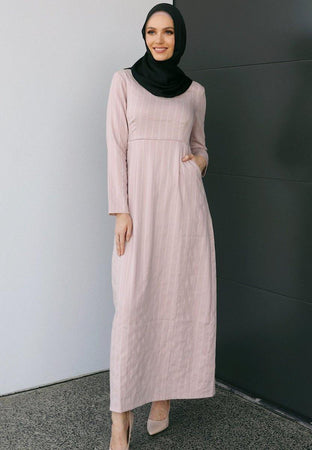 Blush Pink Pinstripe Linen Dress - Divinity Collection