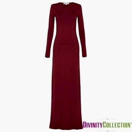 Body Dress Maxi Jersey New Modal Fabric - Maroon - Divinity Collection