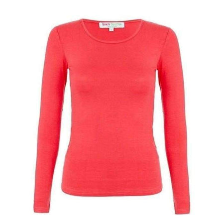 Bright Coral Long Sleeve Cotton Body Top - Divinity Collection