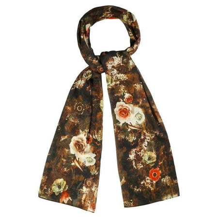 Brown and Orange Floral Hijab - Divinity Collection