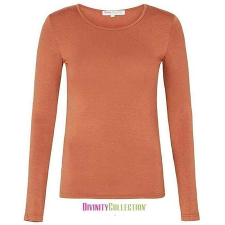 Burnt Orange Long Sleeve Cotton Body Top - Divinity Collection