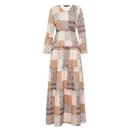 Camel Patchwork Boho Maxi Dress - Divinity Collection