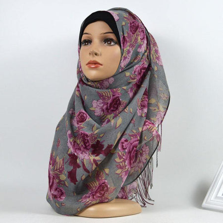 Charcoal Lavender Floral Cotton Hijab - Divinity Collection
