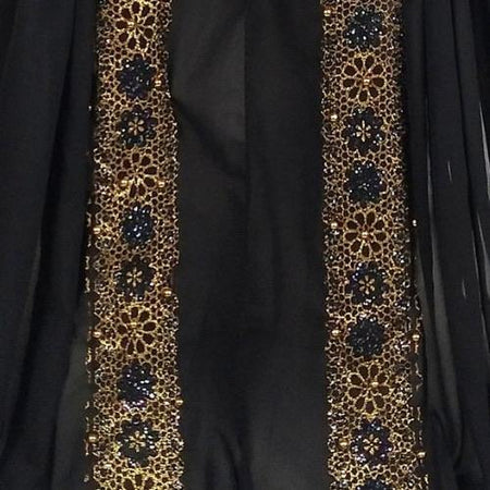 Chiffon Arabian Lace Glittter Trim - Black - Divinity Collection