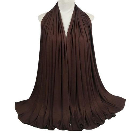 Cotton Soft Jersey Maxi Hijab Scarf - Chocolate - Divinity Collection