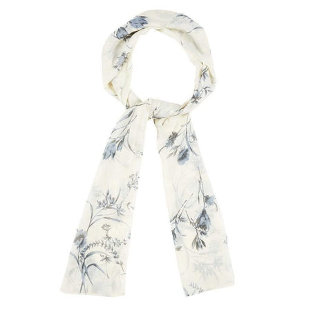 Cream and Baby Blue Floral Hijab - Divinity Collection