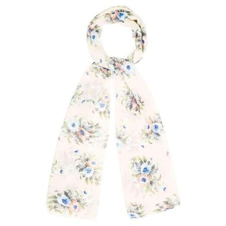 Cream and Coral Large Floral Hijab - Divinity Collection