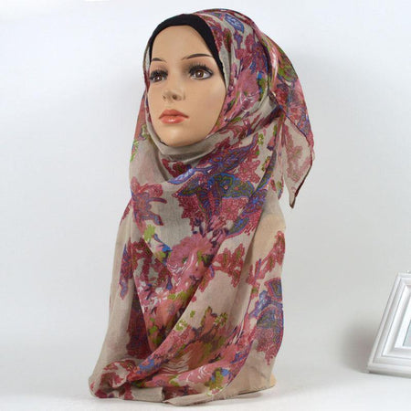 Cream and Pink Forest Floral Cotton Hijab - Divinity Collection