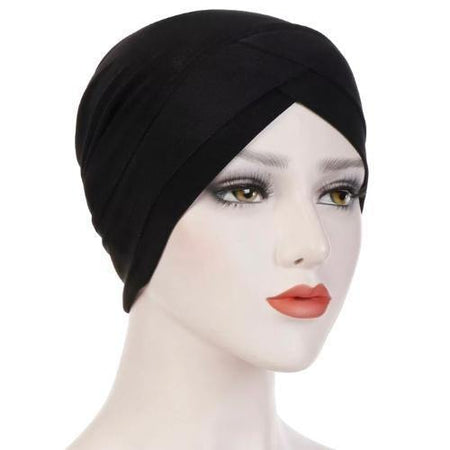 Criss-Cross Closed Hijab Cap - Black - Divinity Collection