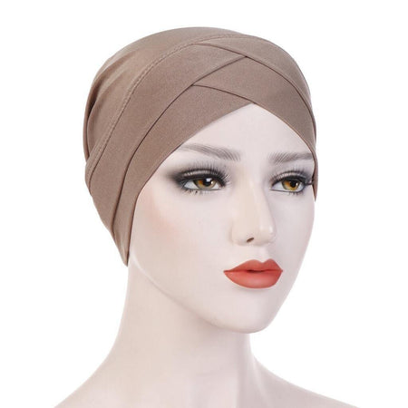 Criss-Cross Closed Hijab Cap - Mocha - Divinity Collection