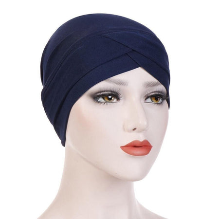 Criss-Cross Closed Hijab Cap - Navy - Divinity Collection