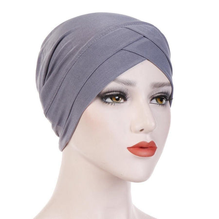 Criss-Cross Closed Hijab Cap - Silver - Divinity Collection
