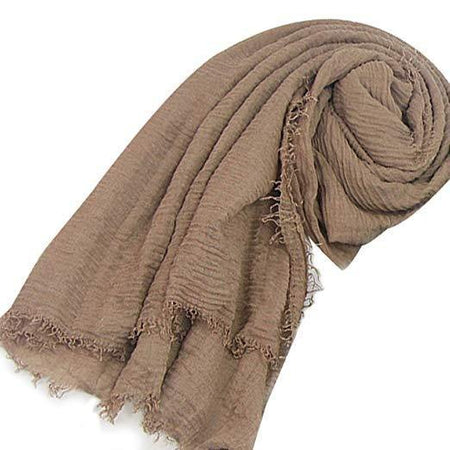 Dark Beige Crinkle Hijab - Divinity Collection
