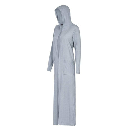 Denim Blue Ribbed Hoody Maxi Cardigan - Divinity Collection