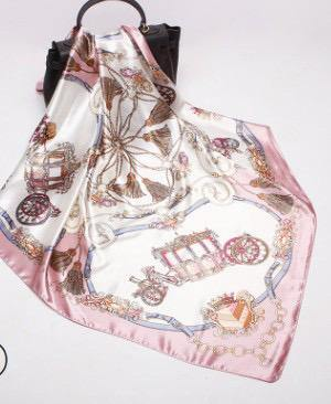 Dusty Pink Chariot Square Satin Silky Scarf - Divinity Collection