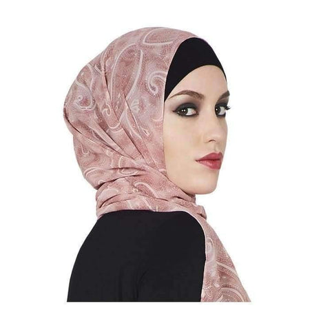 Dusty Pink Crystal Floral Hijab - Divinity Collection