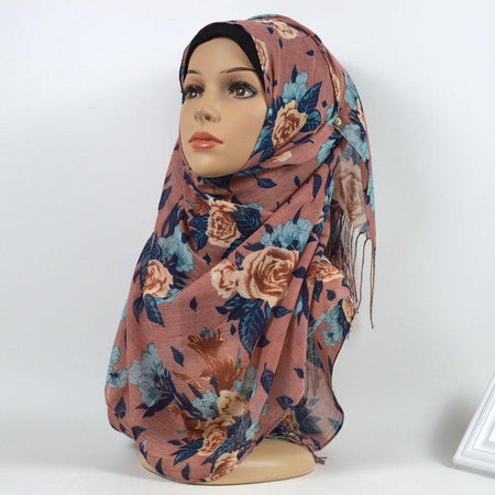 Dusty Rose Floral Cotton Hijab - Divinity Collection