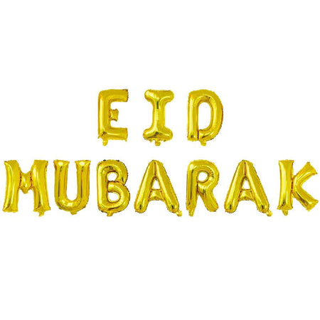 Eid Mubarak Foil Balloon with String 16inch - Gold - Divinity Collection