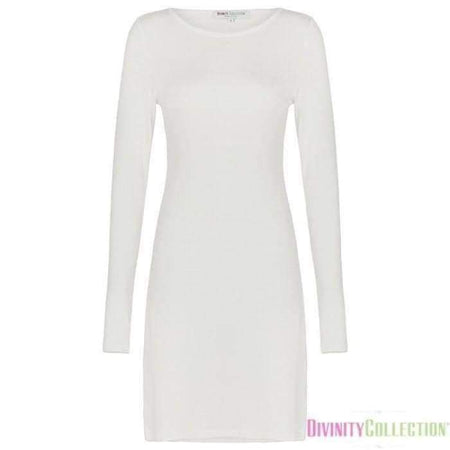 Extra Long Off White Long Sleeve Cotton Top - Divinity Collection