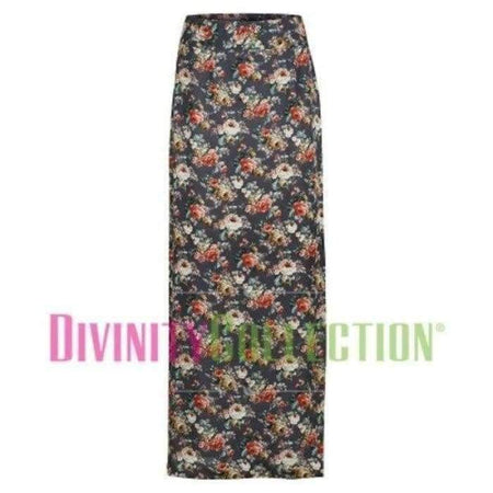Floral Chiffon Skirt - Charcoal - Divinity Collection