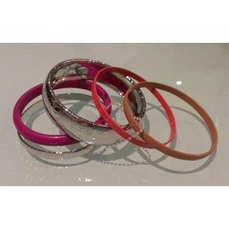Fuchsia and Silver 5pc Bangle Set - Divinity Collection