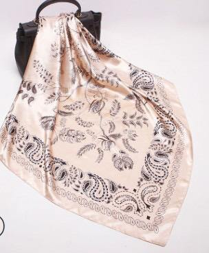 Gold and Black Paisley Square Satin Silky Scarf - Divinity Collection