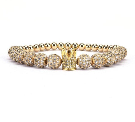 Gold Plated Diamond Balls & Crown Charm Beaded Bracelet - Divinity Collection