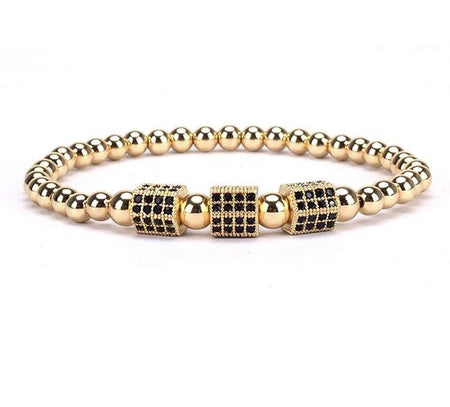 Gold Plated Hexagon Beaded Bracelet - Divinity Collection