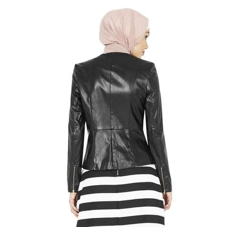 Gold Zipper Peplum Leather Jacket - Divinity Collection
