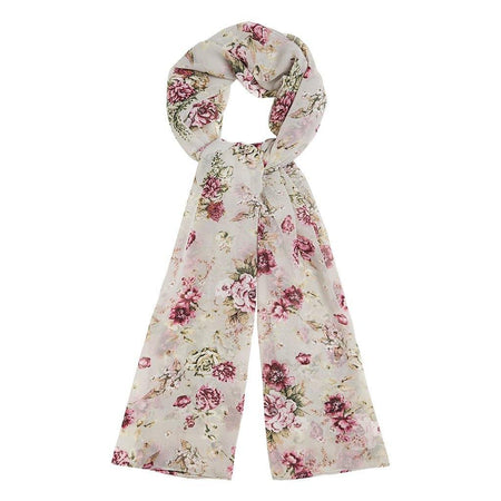 Grey and Pink Floral Garden Hijab - Divinity Collection