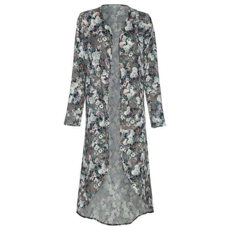 Grey Floral High Low Cape - Divinity Collection