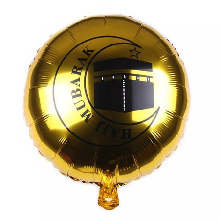Haj Mubarak Foil Helium Balloon 45cm - Gold - Divinity Collection