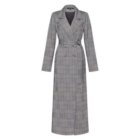 Houndstooth Maxi Coat - Divinity Collection