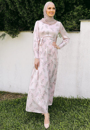 Pastel Pink Floral Satin Dress - Divinity Collection