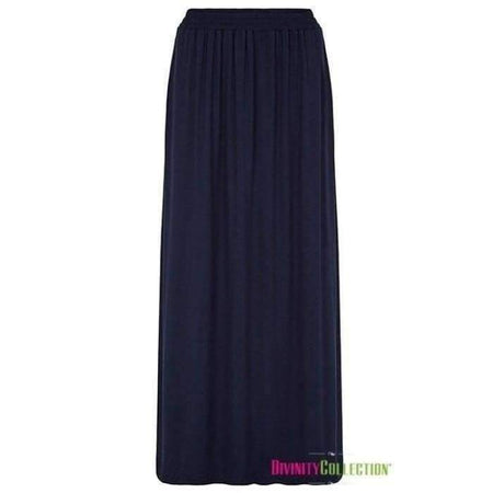 Jersey Pleated Skirt with Side Pockets- Navy - Divinity Collection