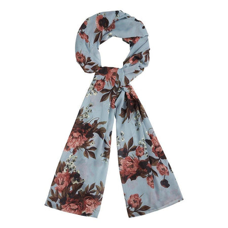 Light Blue and Brown Digital Floral Hijab - Divinity Collection