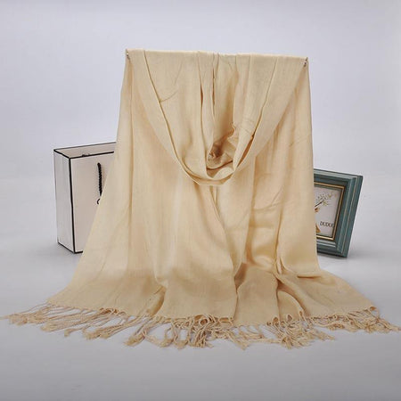Luxurious Premium Fringe Hijab - Light Beige - Divinity Collection