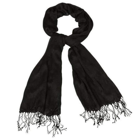 Luxurious Premium Fringe Shawl - Black - Divinity Collection