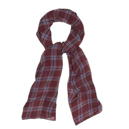 Maroon and Light Blue Plaid Hijab - Divinity Collection