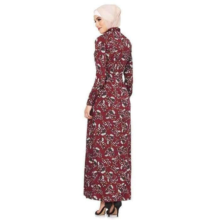 Maroon Folk Floral Dress - Divinity Collection